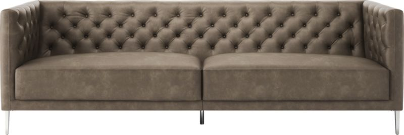 Attractive Savile Grey Leather Tufted Sofa + Reviews | CB2