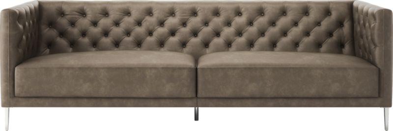 Savile Grey Leather Tufted Sofa + Reviews | CB2