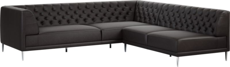 Savile Black Leather Tufted Sectional Sofa by Crate&Barrel