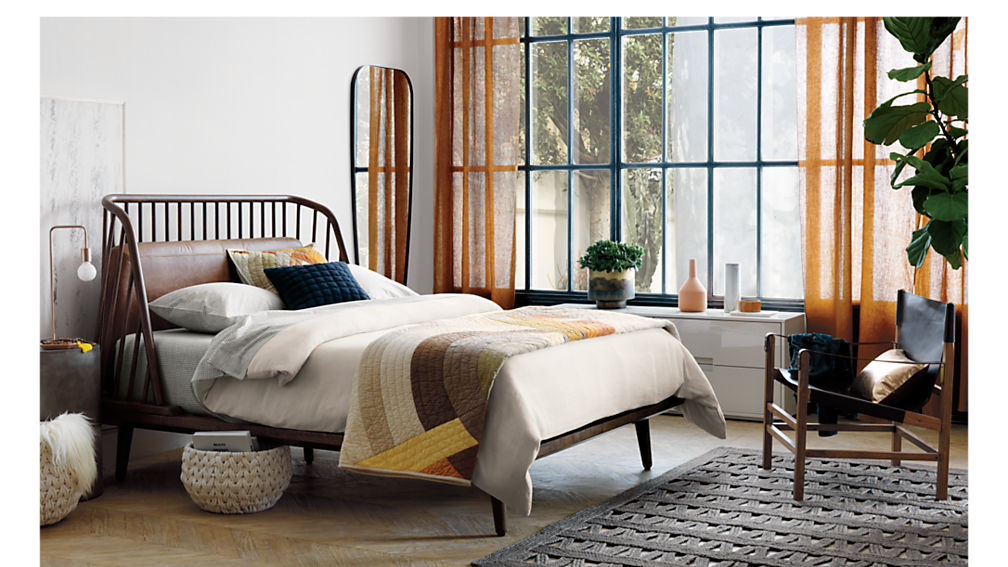 jarvis queen bed with leather pad