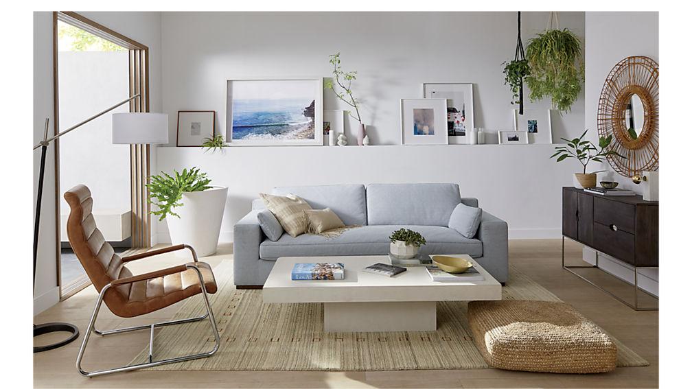element ivory white rectangular coffee table