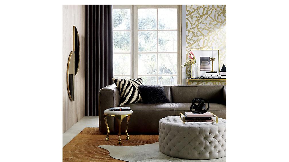 Lenyx Grey Leather Sofa
