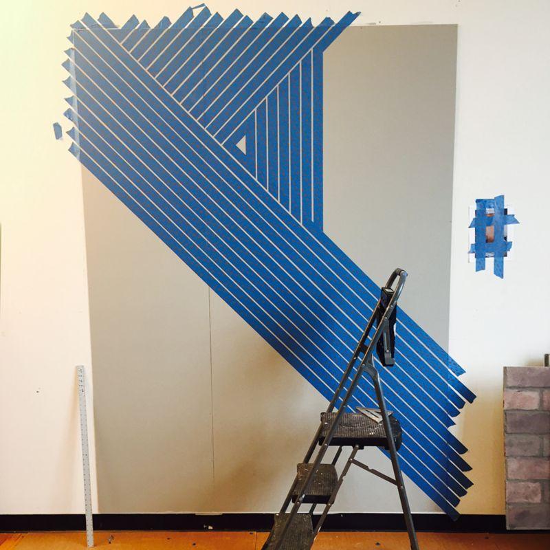 Slate Blue Diagonal Stripe Accent Wall: Idea Central - The CB2 Blog