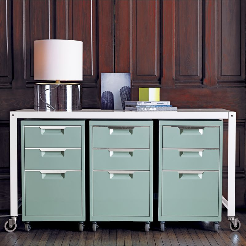 File This Tps Mint Cabinet With Two Drawers And Four Casters Under Chic