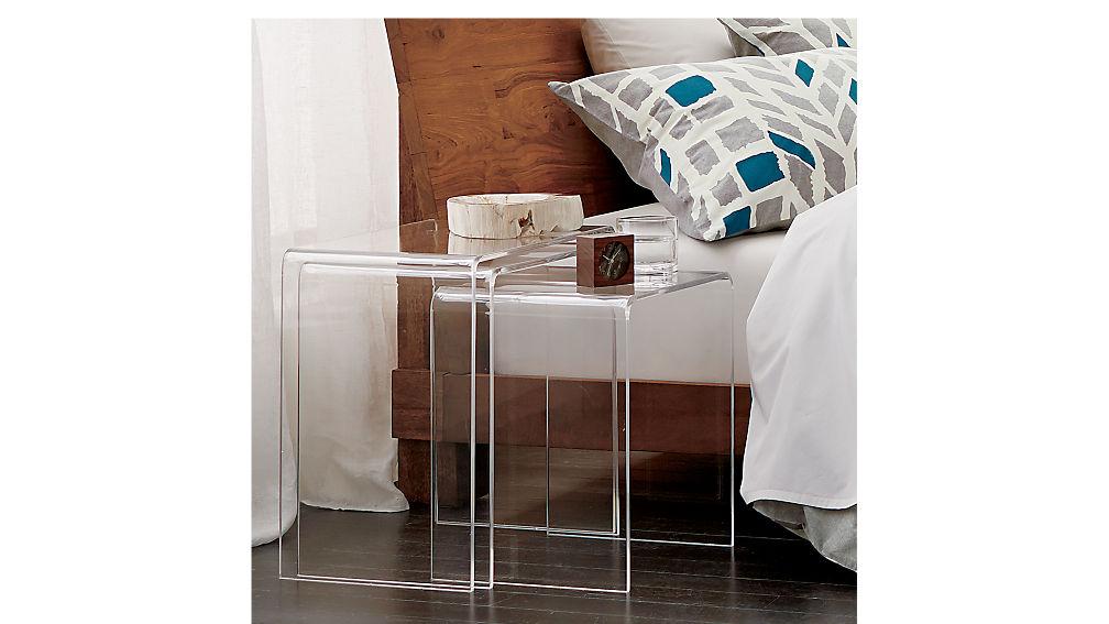 table sets living room.  3 piece peekaboo acrylic nesting table set CB2