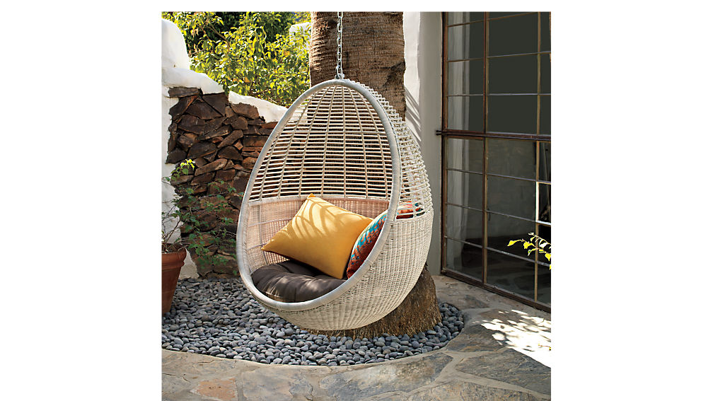 pod hanging chair with cushion