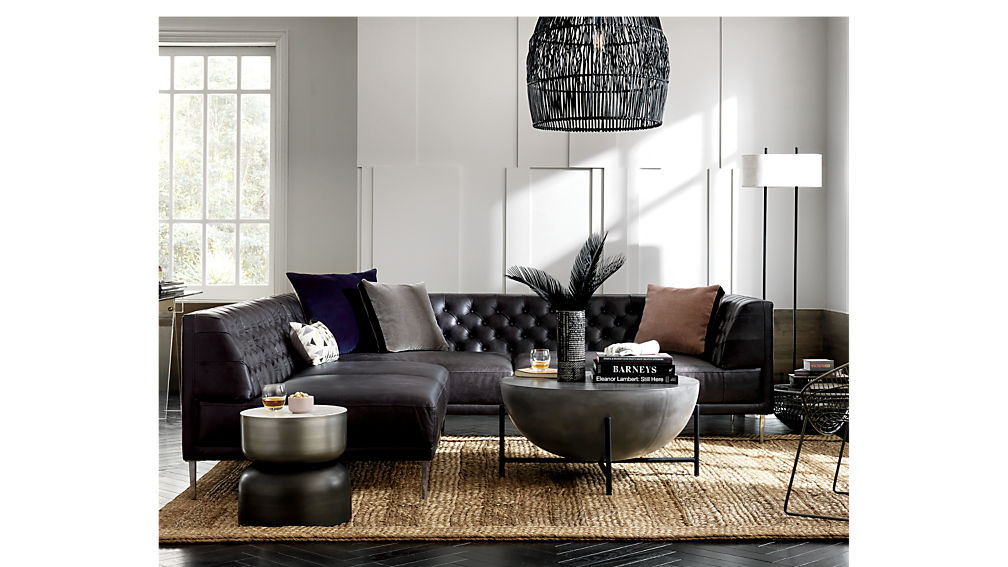 Savile Black Leather Tufted Sectional Sofa