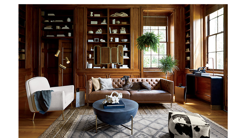savile dark saddle brown leather tufted sofa