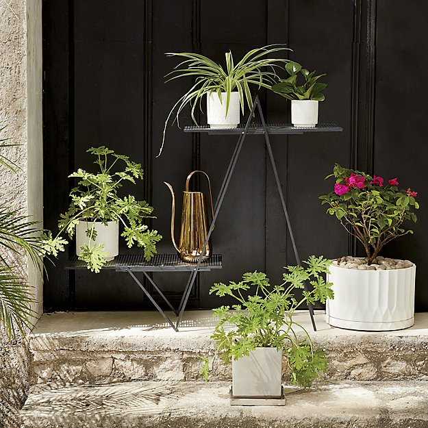 Angled Black Outdoor Plant Stand In View All Reviews Cb2