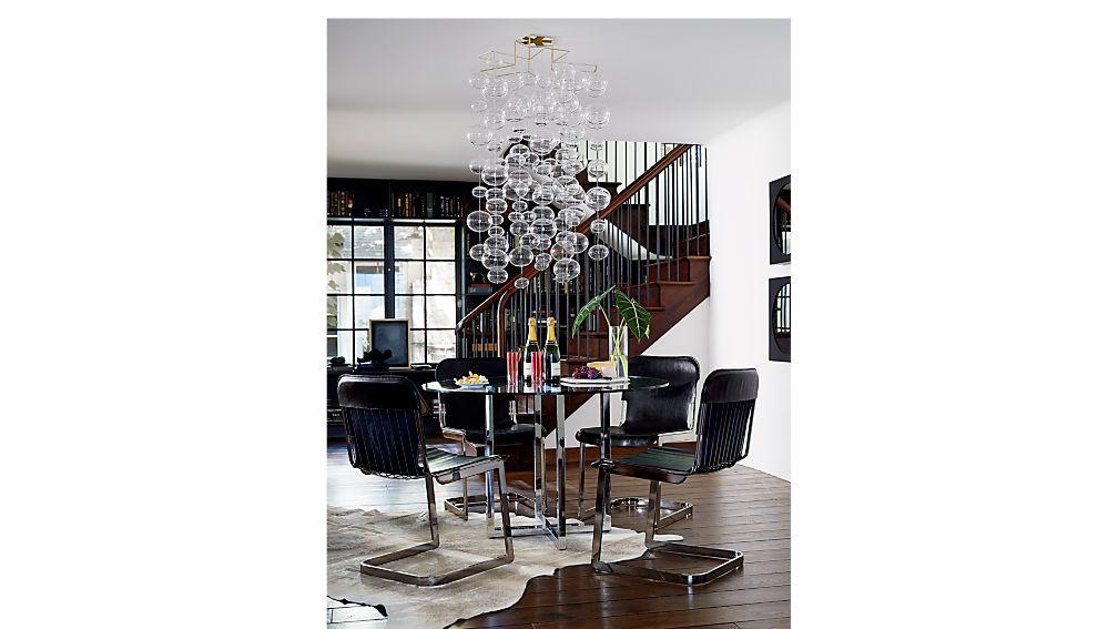 silverado glass and chrome dining table CB2