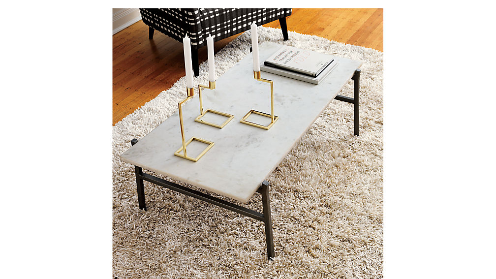 slab small marble coffee table with antiqued silver base CB2