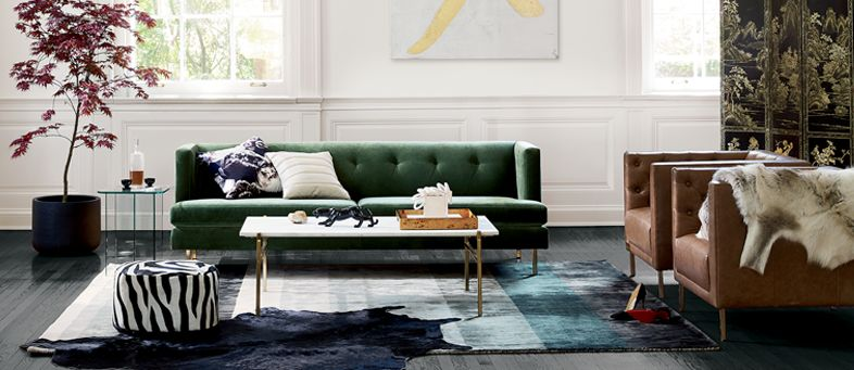 Creative Living Room Ideas. Italian Inspired Home Decor. Green Velvet Sofa.  Brown Leather