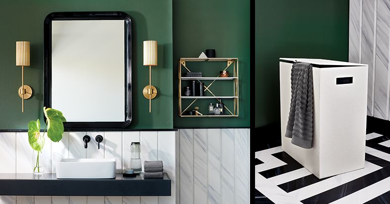 Genial Green Bathroom. Black Mirror. White Hamper. Gold Stool. Gold Wall Sconce.