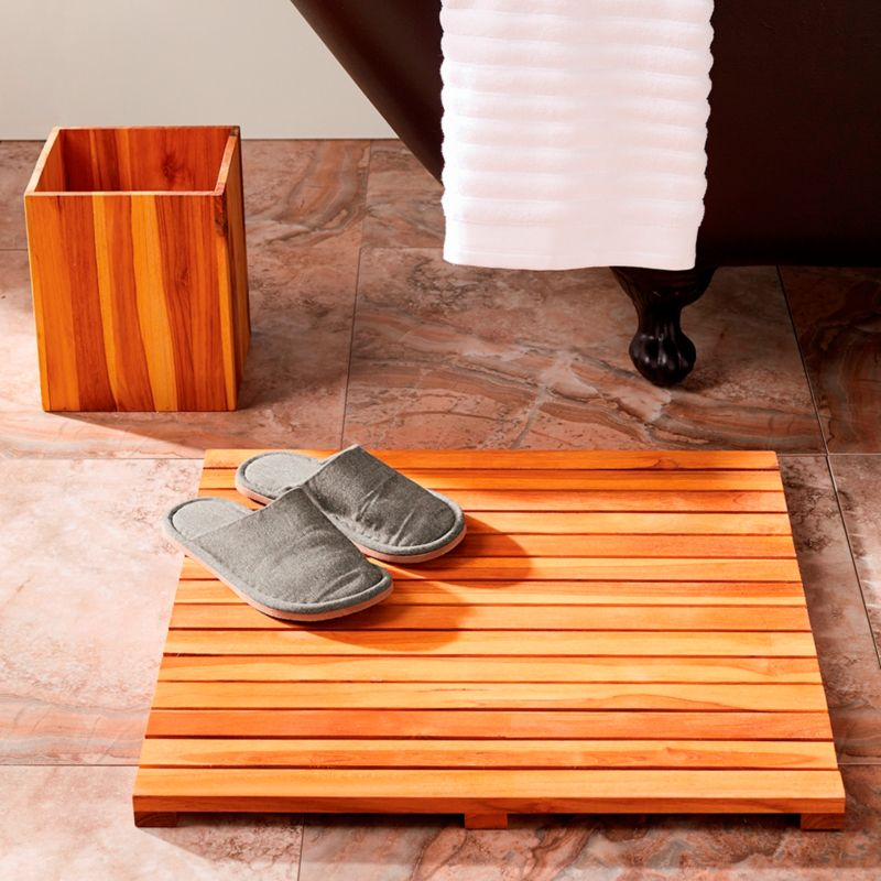 nothing says quite like a wooden bath mat our slatted teak bath mat offers nononsense style for the floor and it always cleans up nicely - Teak Bath Mat