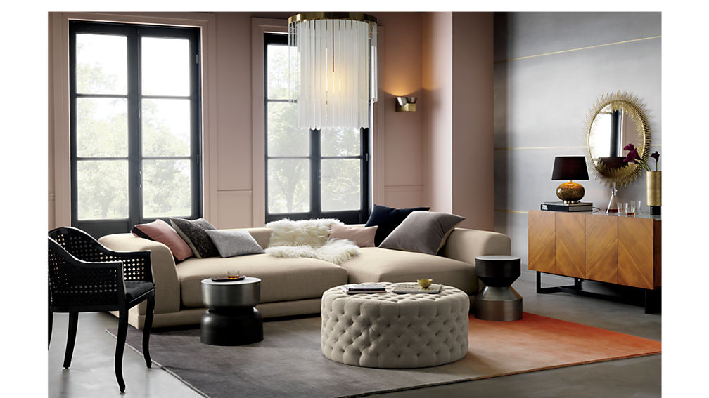 tufted natural ottoman