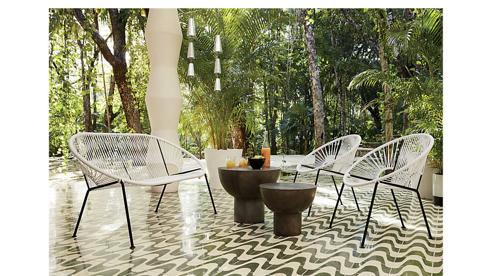 cb2 patio furniture. ixtapa white lounge chair cb2 patio furniture